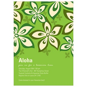 Hibiscus Fun -- Green Luau Party Invitations