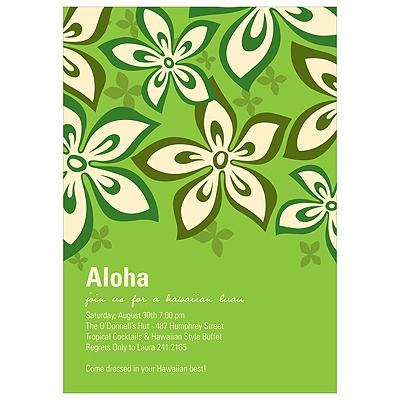Hibiscus Fun Green Luau Party Invitations
