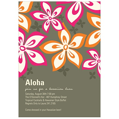 Hibiscus Fun Pink Luau Party Invitations