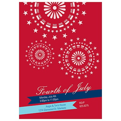 Sparkle in the Sky 4th of July Party Invitations