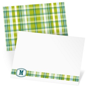 Blue Plaid Meets Monogram - Monogram Stationery