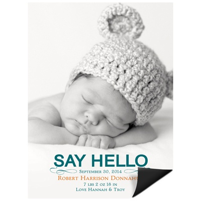Hello Baby Boy -- Baby Announcement Magnets