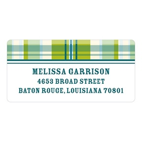 Green Plaid -- Baby Address Labels