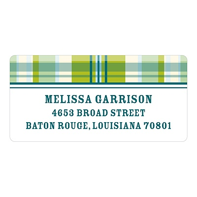 Pin-stripe Plaid in Green - Baby Return Address Labels