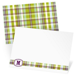 Purple Plaid Meets Monogram -- Monogram Stationery