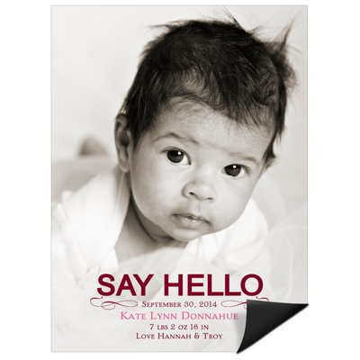 Hello Baby Girl -- Birth Announcement Magnets