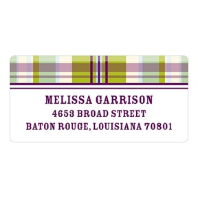 Purple Plaid -- Baby Address Labels
