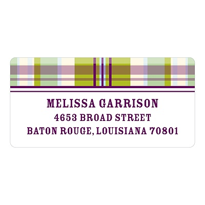 Pin-stripe Plaid in Purple - Baby Return Address Labels
