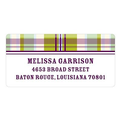Purple Plaid Baby Address Labels