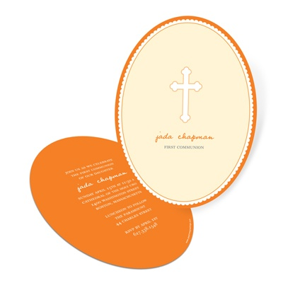 Oval Scallops First Communion Invitations