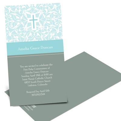 Modern Cross -- Holy Communion Invitations