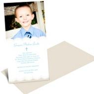 Soft Scallop Borders Boy Communion Invitations