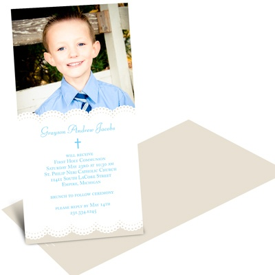 Soft Scallop Borders -- Boy Communion Invitations