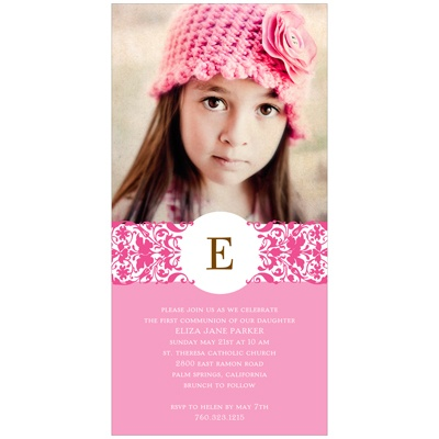 Graceful Monogram -- First Communion Photo Invitations