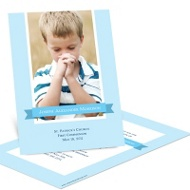 Repeated Ribbon Banner First Communion Photo Invitations