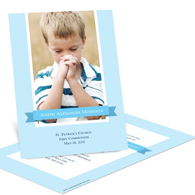 Repeated Ribbon Banner -- First Communion Photo Invitations