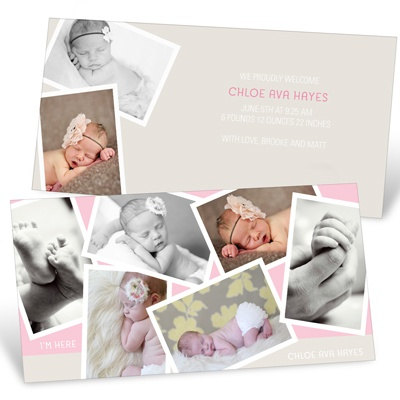 Creative Girl Collage Birth Announcements