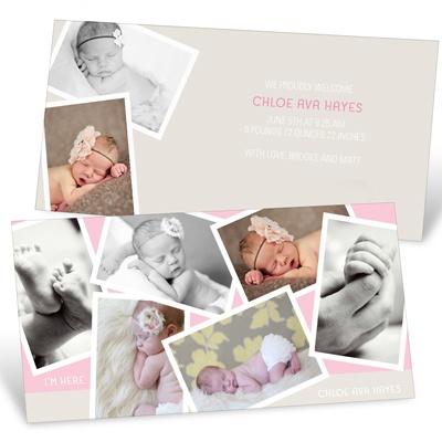 Creative Girl Collage Birth Announcements