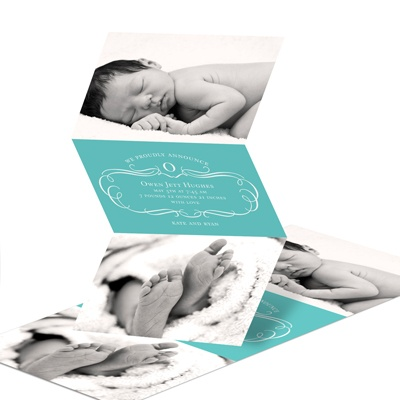 Flourish and Photos -- Baby Boy Birth Announcements