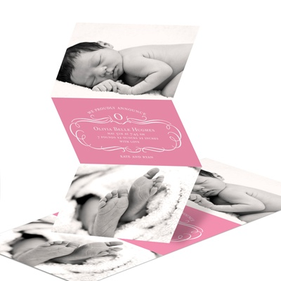 Flourish and Photos -- Baby Girl Birth Announcements
