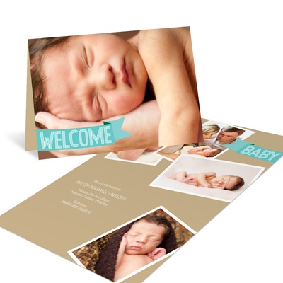 Aqua Welcome Banner -- Photo Birth Announcements