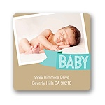 Aqua Baby Banner -- Baby Shower Favor Stickers