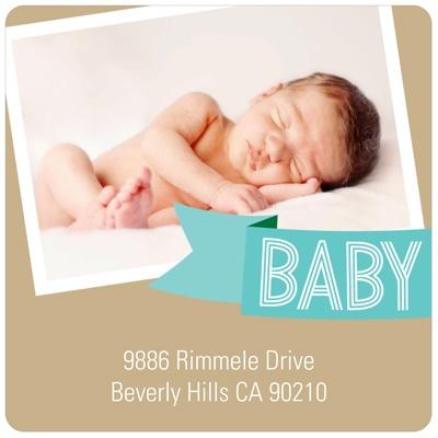 Aqua Baby Banner Baby Shower Favor Stickers