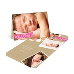 Pink Welcome Banner -- Photo Birth Announcements