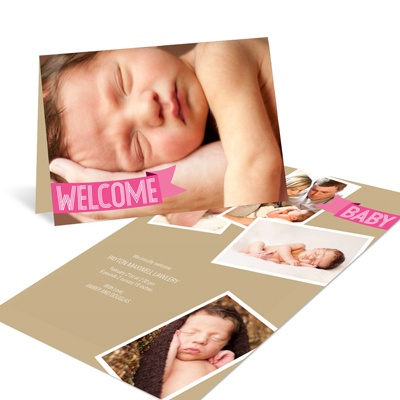 Pink Welcome Banner Birth Announcements