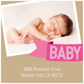 Aqua Baby Banner -- Photo Address Labels