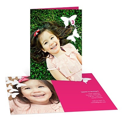 Photo Fluttering Design Butterfly Birthday Invitations