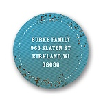 Speckled denim in Blue -- Kids Birthday Favor Stickers