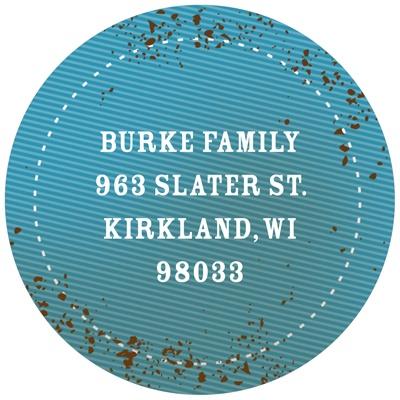 Speckled denim in Blue Kids Birthday Favor Stickers