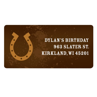 Hooked on Horseshoe in Brown Kids Address Labels