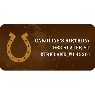Hooked on Horseshoe in Brown -- Kids Return Address Labels