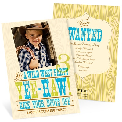 Yee-haw! Western Birthday Invitations in Blue