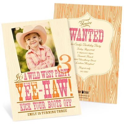 Yee-haw! Western Birthday Invitations in Pink