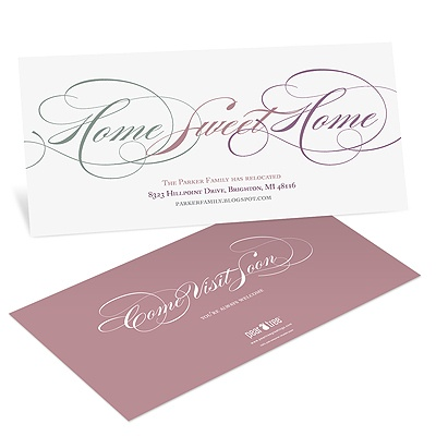Sweet Calligraphy Personalized Moving Announcements