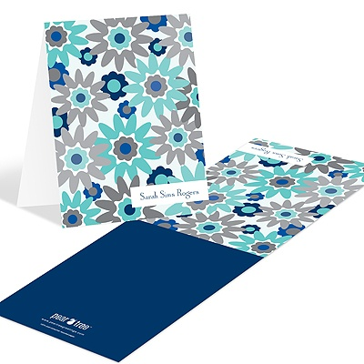 Fresh Blooms in Blue Floral Stationery