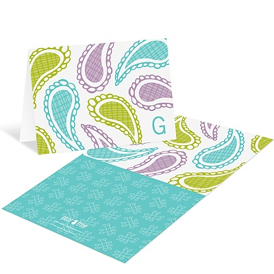 Playful Paisley in Blue -- Monogram Stationery Cards
