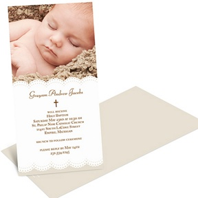 Scalloped Photo -- Baptism Invitations