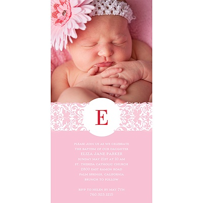Symbolic Monogram Baptism Invitations