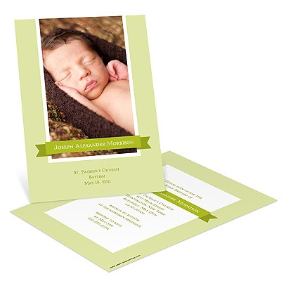 Sweetly Wrapped Banner -- Photo Baptism Invitations