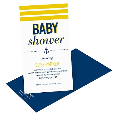 Stripes at Sea Baby Shower Invitations