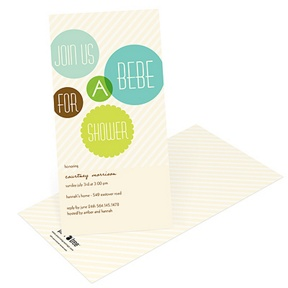 Floating Green Circles -- Baby Shower Invitations