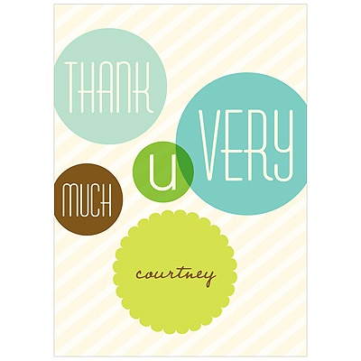Floating Green Circles Baby Shower Thank You Cards