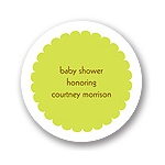 Scalloped Circle in Green -- Baby Shower Favor Stickers