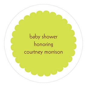 Scalloped Circle Stickers In Green -- Baby Shower Favor Tags