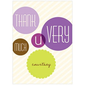 Floating Purple Circles -- Baby Shower Thank You Cards