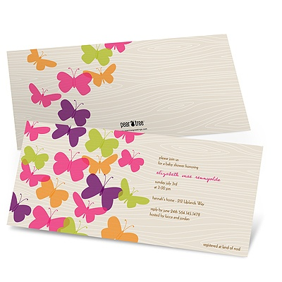 Flowing Wood Design -- Butterfly Baby Shower Invitations